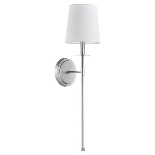 Adjustable 1-Light Linen Shade Satin Nickel Wall Sconce