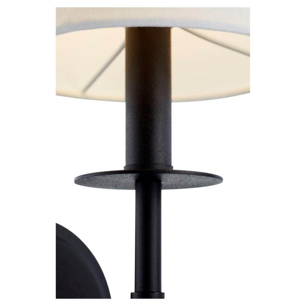 Adjustable 1-Light Linen Shade Noir Sconce