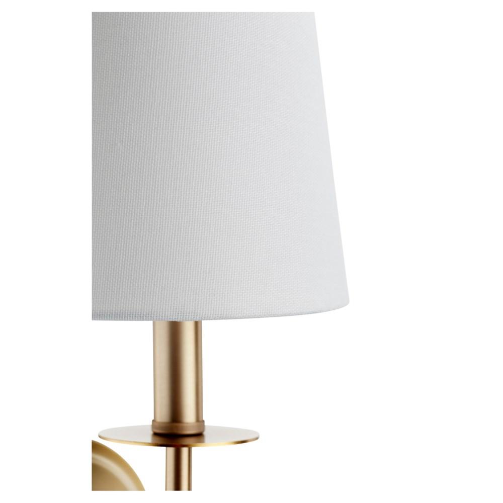 Adjustable 1-Light Linen Shade Aged Brass Sconce