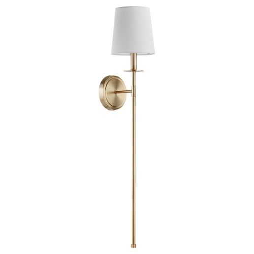 Adjustable 1-Light Linen Shade Aged Brass Sconce