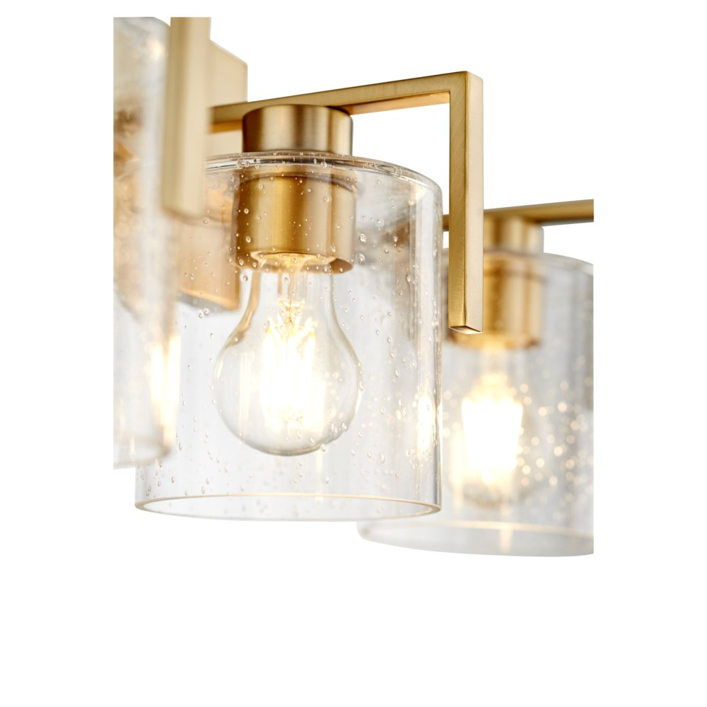 Three-Light Clear Seeded Aged Brass Vanity