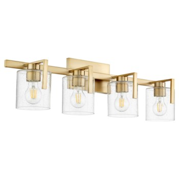 Four-Light Clear Seeded Aged Brass Vanity