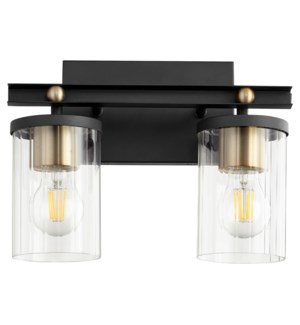 EMPIRE 2-Light Black/Aged Brass Vanity
