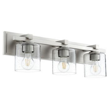 3 Light Soft Contemporary Satin Nickel Clear Seeded Glass Vanity