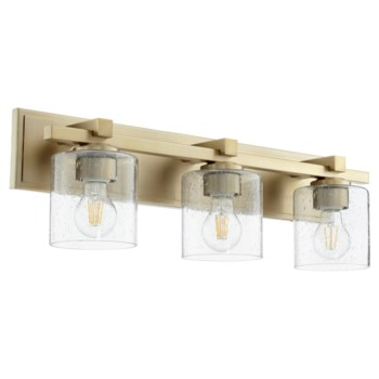 3 Light Soft Contemporary Aged Brass Clear Seeded Glass Vanity