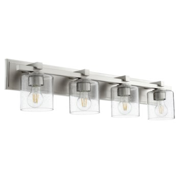 4 Light Soft Contemporary Satin Nickel and Oiled Bronze Clear Seeded Glass Vanity
