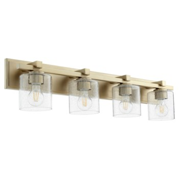 4 Light Soft Contemporary Aged Brass Clear Seeded Glass Vanity