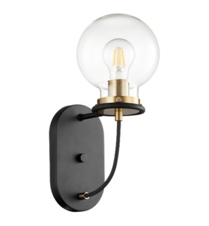 Centauri 1 Light Soft Contemporary Black and Aged Brass Wall Sconce