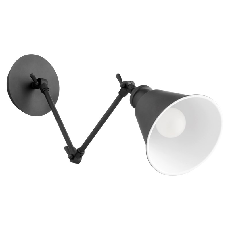 1 Light Mid Century Modern Black Wall Sconce