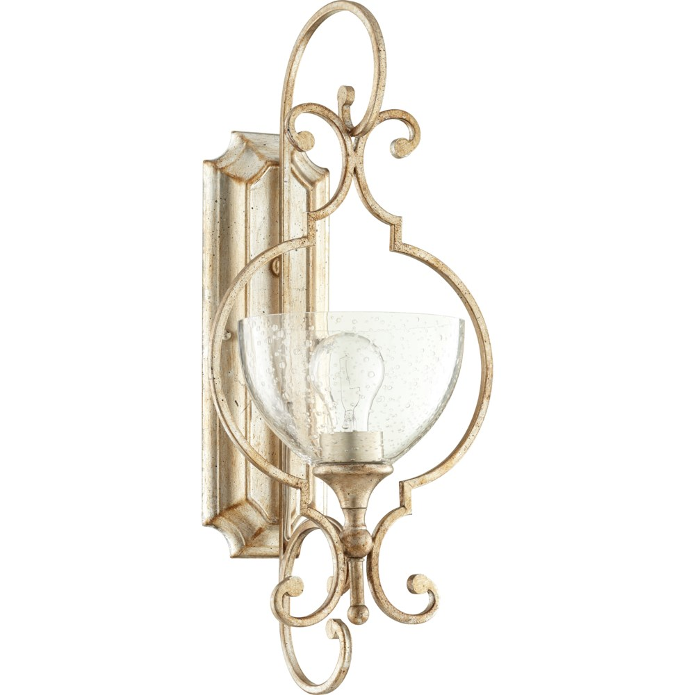 Ansley 1 Light Traditional Aged Silver Leaf Wall Sconce