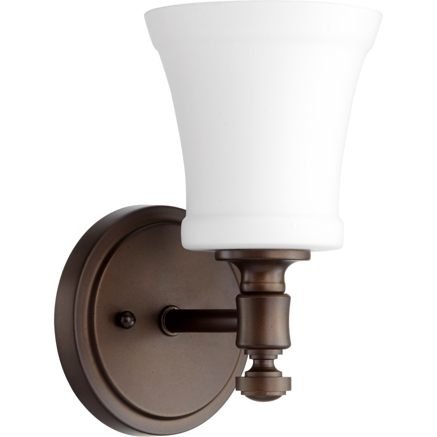 Rossington 1 Light Transitional Oiled Bronze Satin Opal Glass Wall Sconce