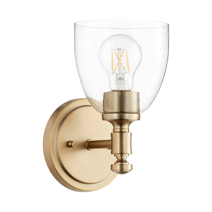 Rossington 1 Light Transitional Aged Brass Clear Seeded Glass Wall Sconce