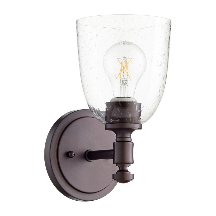 Rossington 1 Light Transitional Oiled Bronze Clear Seeded Glass Wall Sconce
