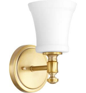 Rossington 1 Light Transitional Aged Brass Satin Opal Glass Wall Sconce