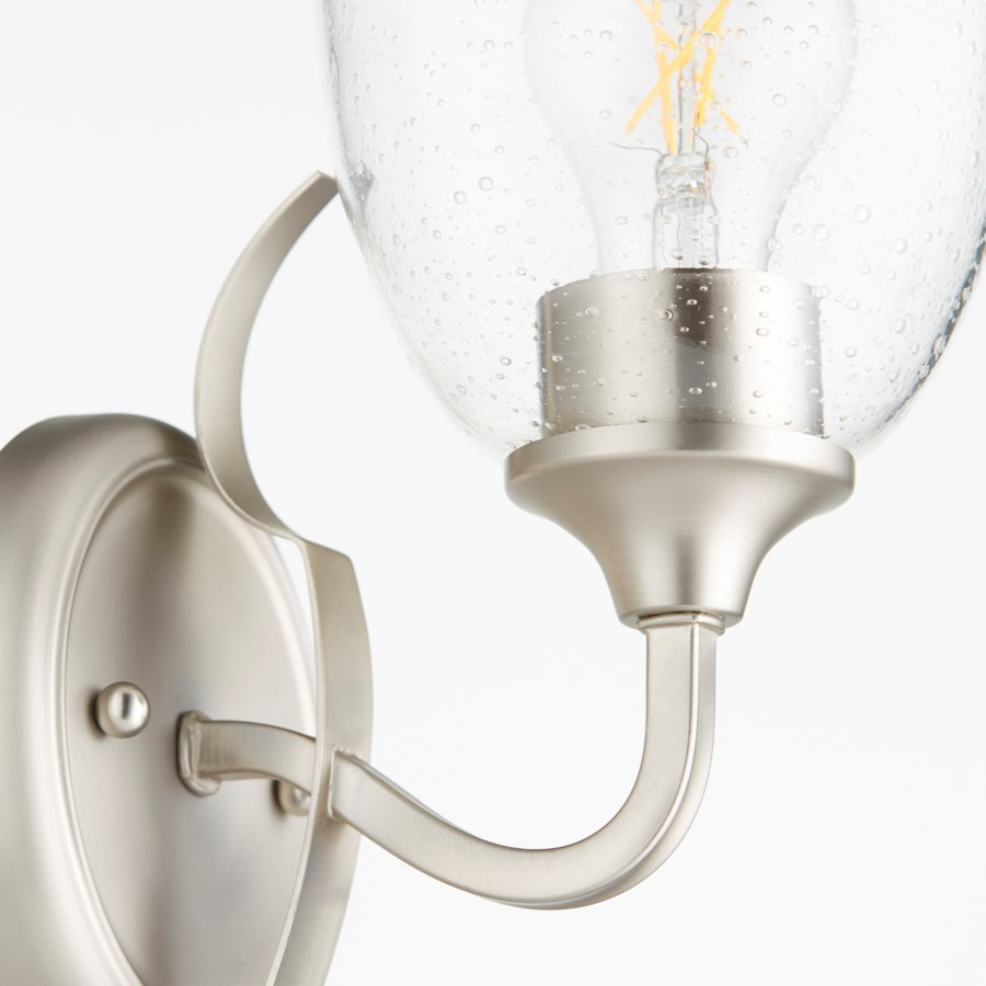 Jardin 1 Light Traditional Satin Nickel Clear Seeded Glass Wall Sconce