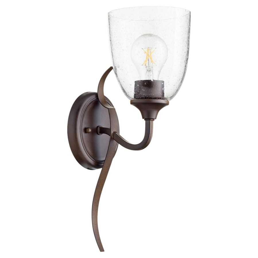 Jardin 1 Light Transitional Oiled Bronze Clear Seeded Glass Wall Sconce