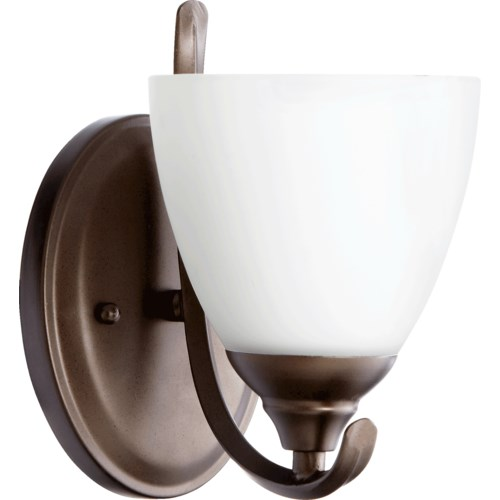 Powell 1 Light Transitional Oiled Bronze Satin Opal Glass Wall Sconce