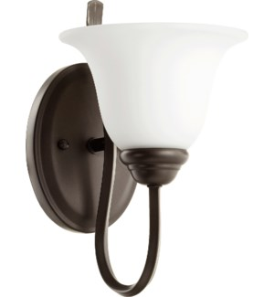 Spencer 1 Light Transitional Oiled Bronze Satin Opal Glass Wall Sconce