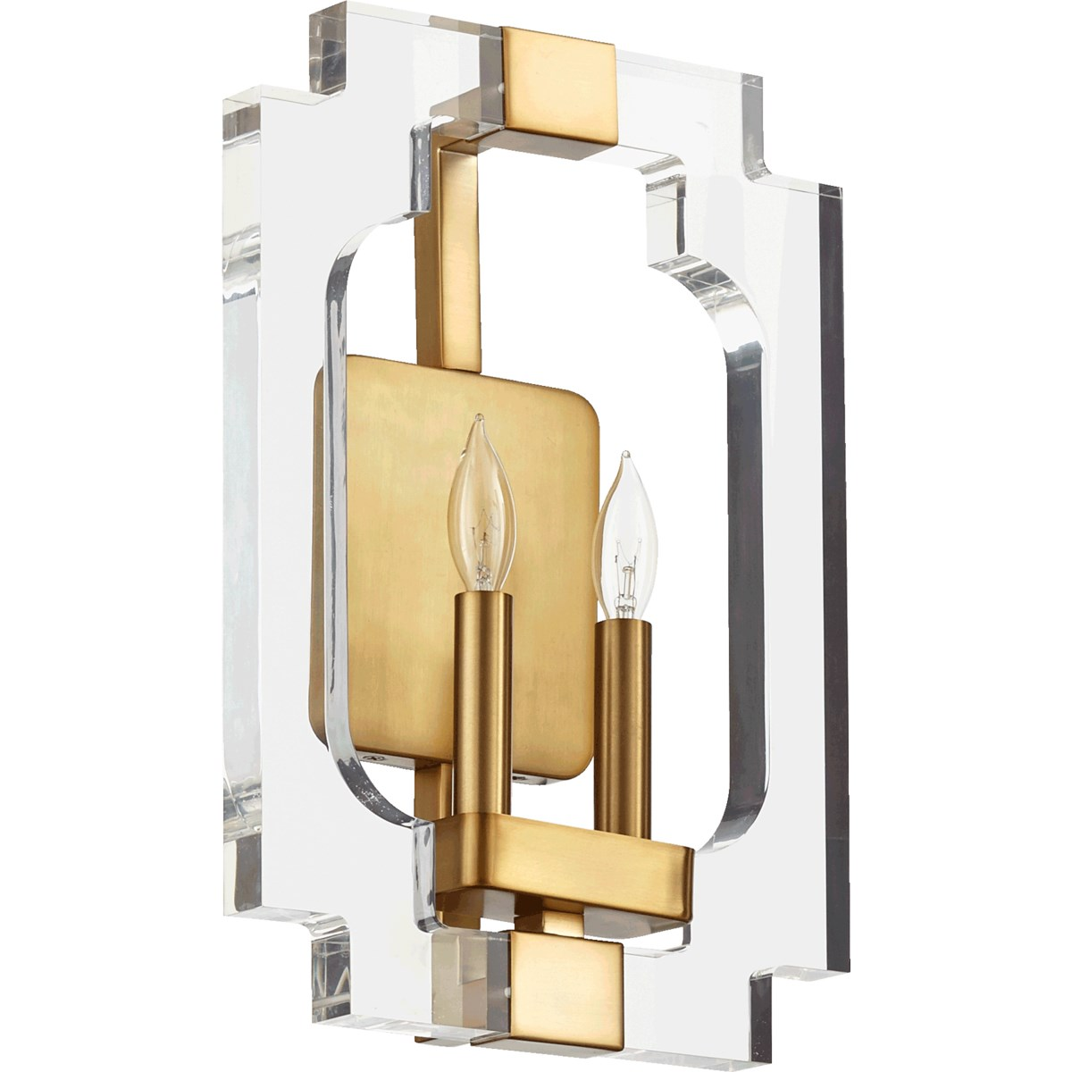 Broadway 2 Light Modern and Contemporary Aged Brass Wall Sconce