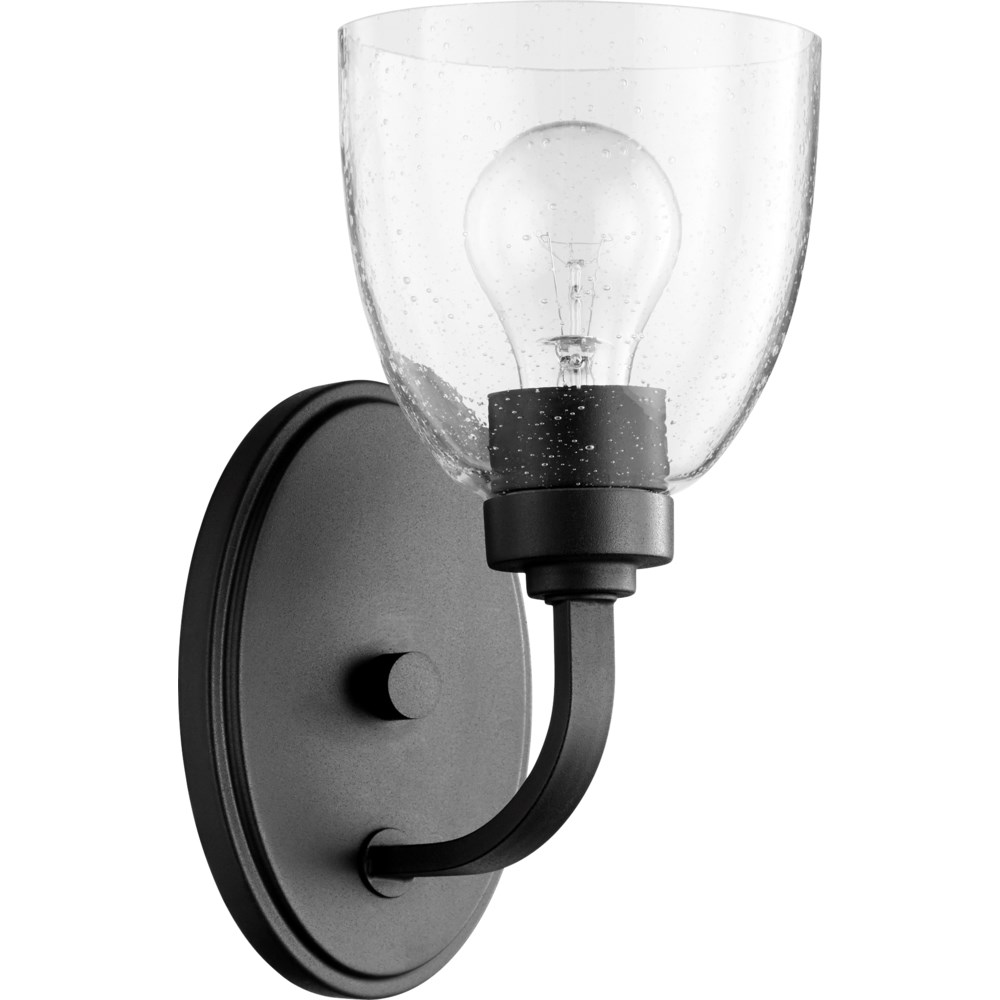 Reyes 1 Light Traditional Black Clear Glass Wall Sconce