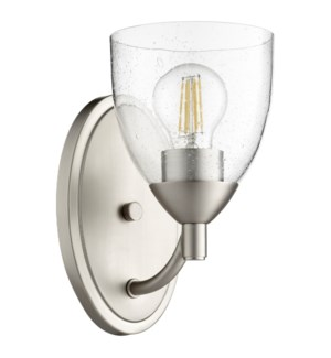 Barkley 1 Light Transitional Satin Nickel Clear Seeded Glass Wall Sconce