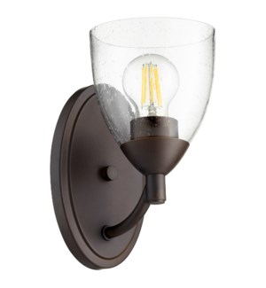 Barkley 1 Light Transitional Oiled Bronze Clear Seeded Glass Wall Sconce