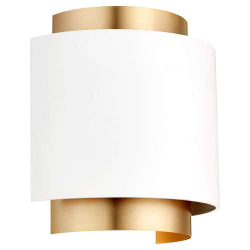 Half Drum Two-Toned Studio White/Aged Brass Wall Sconce
