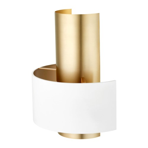 Half Cylinder Two-Toned Studio White/Aged Brass Wall Sconce