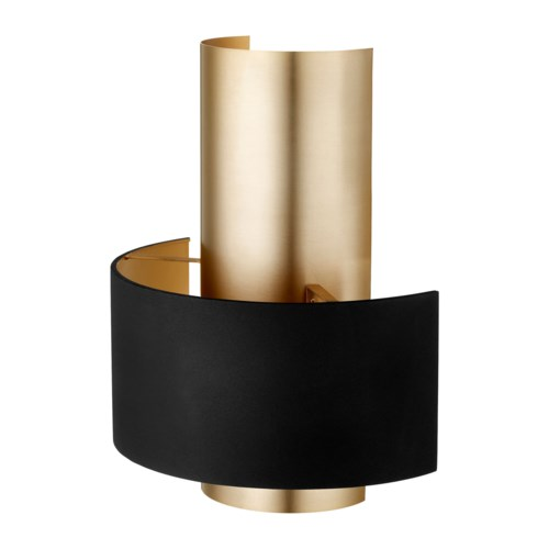 Half Cylinder Two-Toned Noir/Aged Brass Wall Sconce