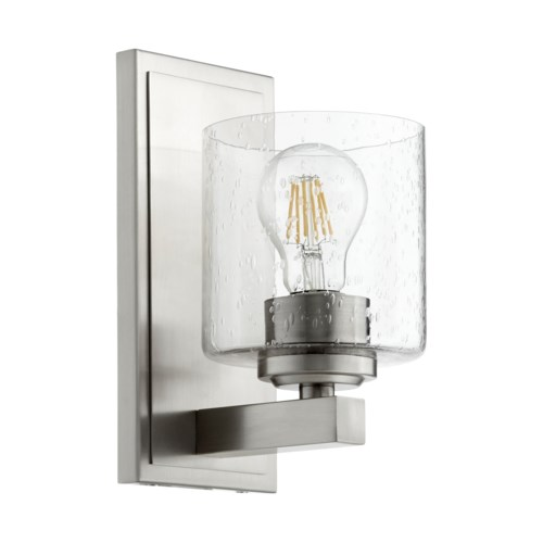 1 Light Transitional Satin Nickel Clear Seeded Glass Wall Sconce