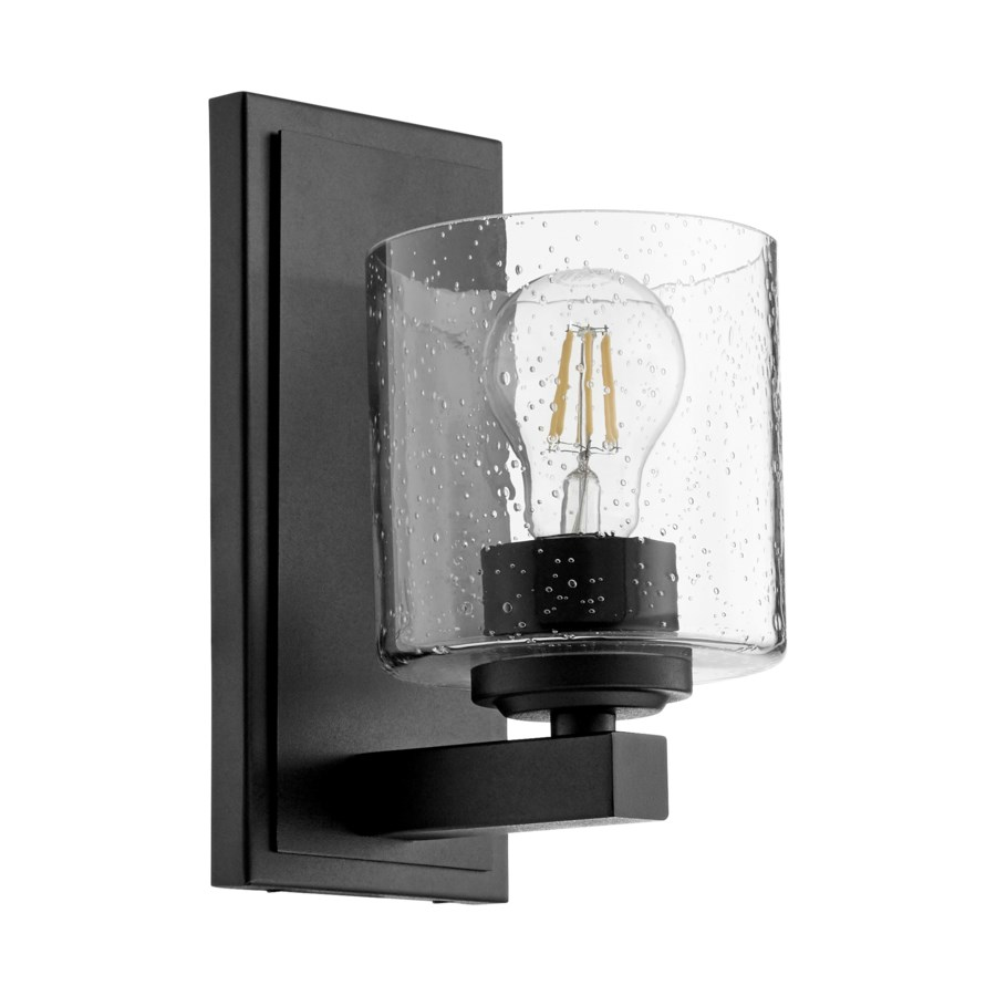1 Light Transitional Black Clear Seeded Glass Wall Sconce