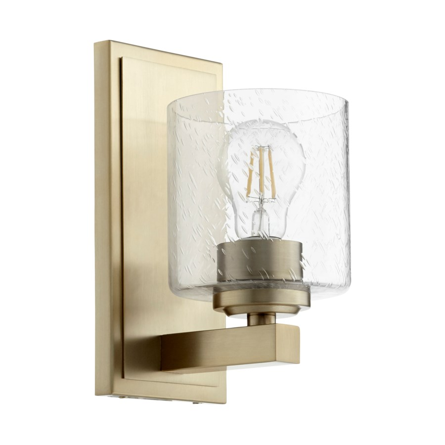 1 Light Transitional Aged Brass Clear Seeded Glass Wall Sconce