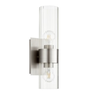 2 Light Soft Contemporary Satin Nickel Wall Sconce