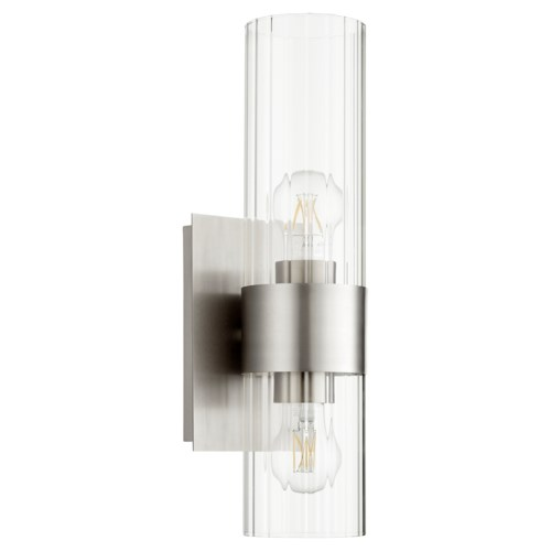 2 Light Soft Contemporary Satin Nickel Wall Sconce