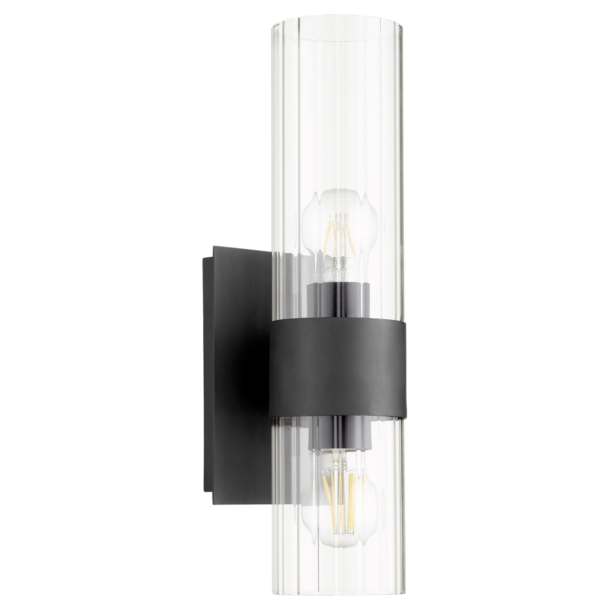 2 Light Soft Contemporary Black Wall Sconce