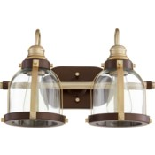 2 Light Transitional Aged Brass and Oiled Bronze Vanity