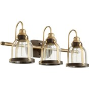 3 Light Transitional Aged Brass and Oiled Bronze Vanity