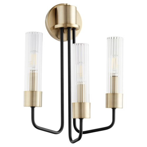 Helix 3 Light Transitional Black and Aged Brass Wall Sconce