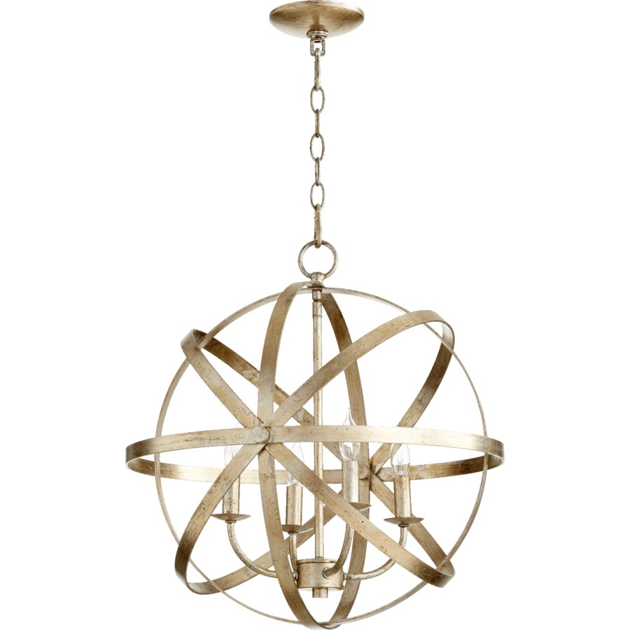 Celeste 4 Light Aged Silver Leaf Transitional Chandelier