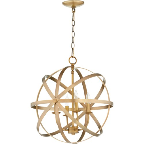 Celeste 4 Light Aged Brass Transitional Chandelier