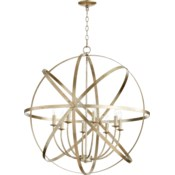 Celeste 8 Light Aged Silver Leaf Transitional Chandelier
