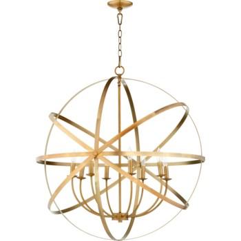 Celeste 8 Light Aged Brass Transitional Chandelier