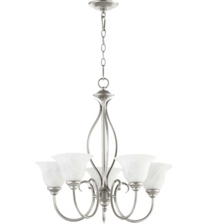 Spencer 5 Light Classic Nickel Transitional Chandelier