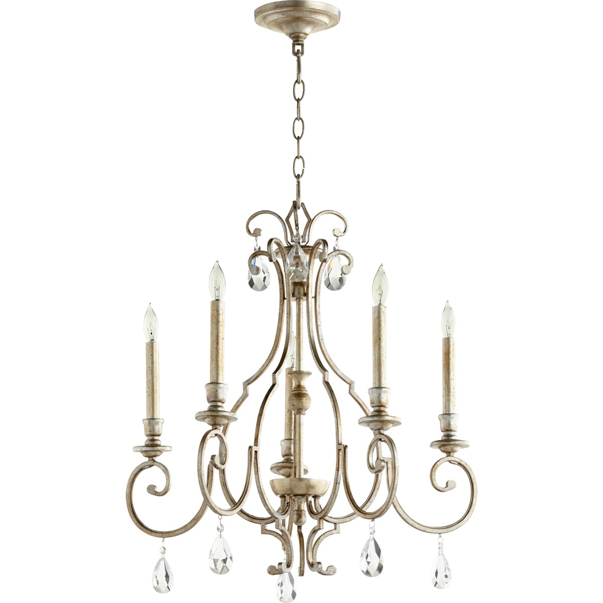 Ansley 5 Light Aged Silver Leaf Traditional Chandelier