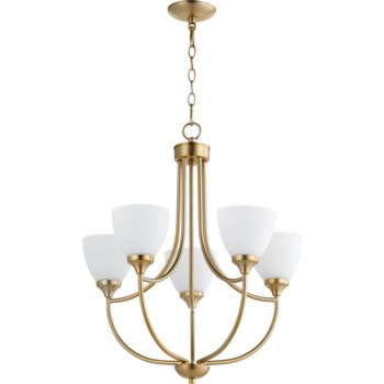 Enclave 5 Light Aged Brass Transitional Chandelier