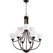 Enclave 9 Light Oiled Bronze  Transitional Chandelier
