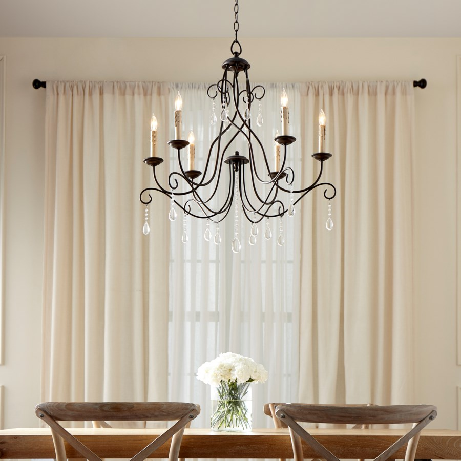 Cilia 6 Light Oiled Bronze  Transitional Chandelier