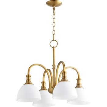 Richmond 4 Light Transitional Aged Brass Chandelier