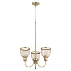Omni 3 Light  Aged Brass Industrial Chandelier