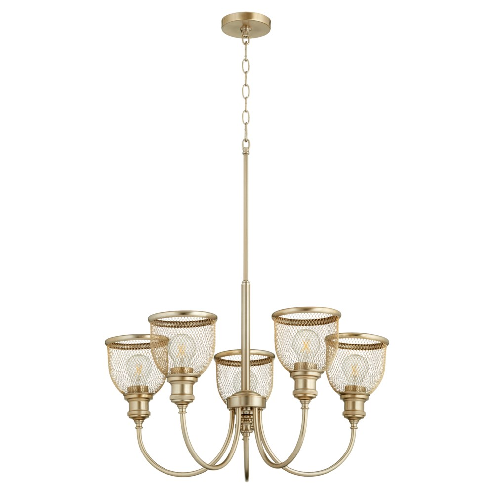 Omni 5 Light Aged Brass Industrial Chandelier